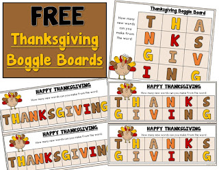 FREE Thanksgiving Boggle Boards
