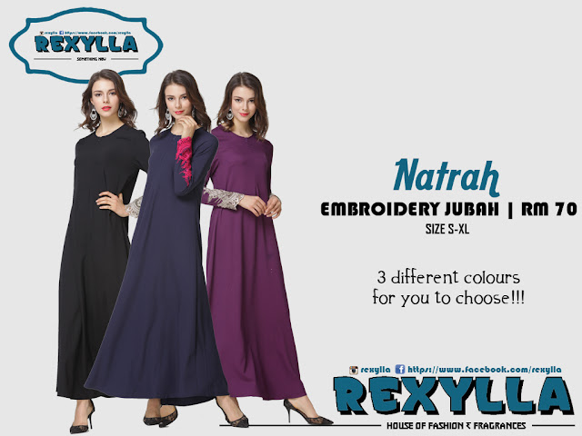 rexylla, lace, embroidery jubah, natrah collection
