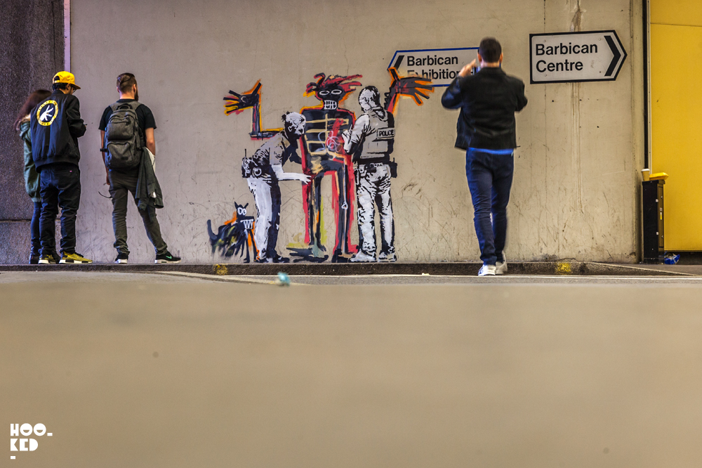 Two Banksy artworks spray-painted in London at the Barbican Centre