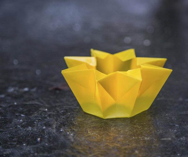 Keltainen tuikkulyhty paperista (A4)