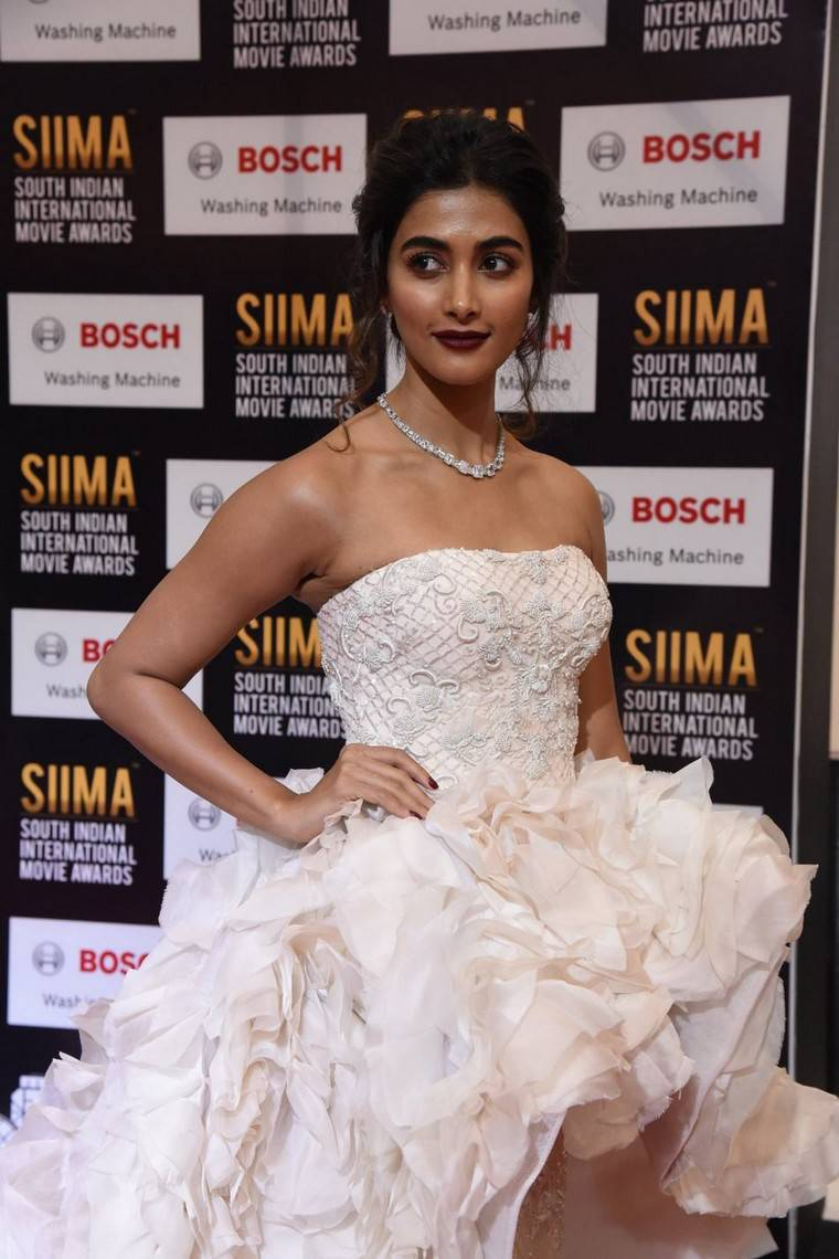 Actress Pooja Hegde Photos At SIIMA Awards 2017 In White Gown