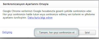 Chrome senkronize onayı