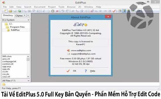 Tải Về EditPlus 5.0 Full Key Bản Quyền - Phần Mềm Hỗ Trợ Edit Code