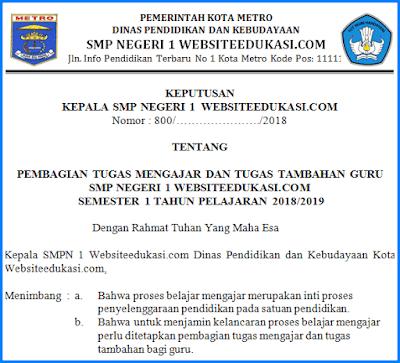 Contoh SK Pembagian Tugas Guru Tahun Pelajaran 2018/2019