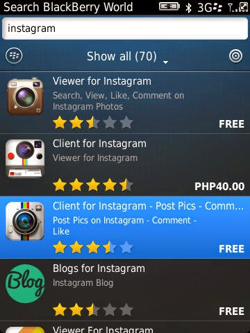 Free Instagram client for Blackberry via Blackberry World
