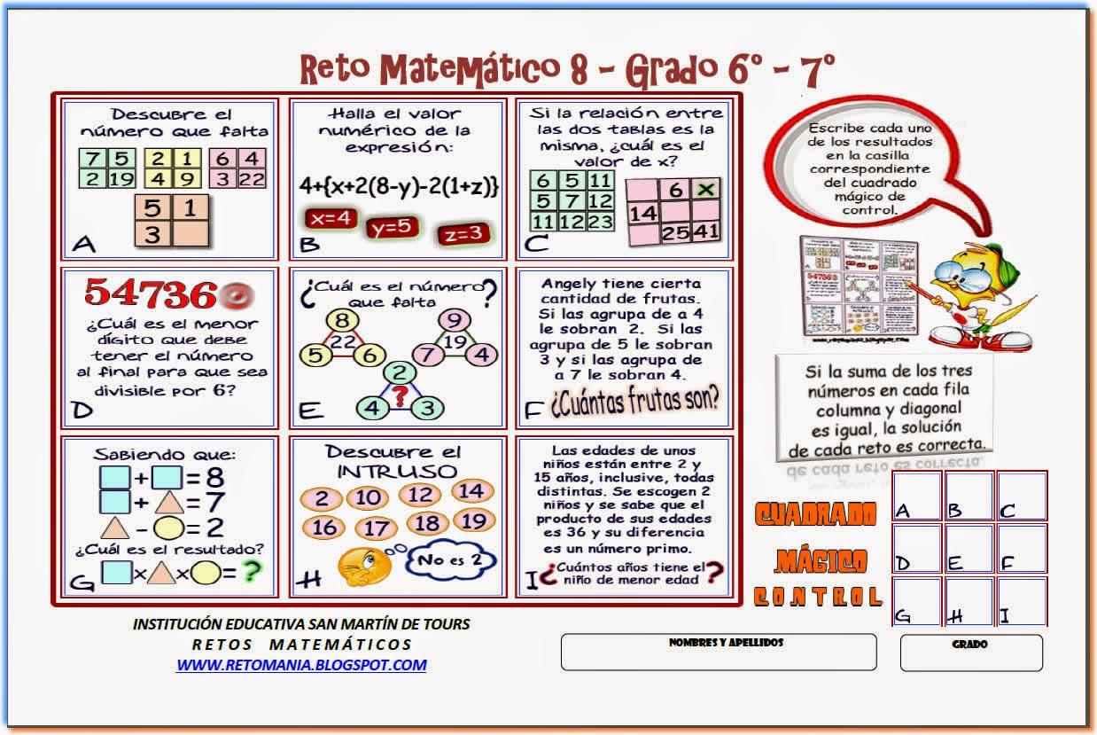 Descubre el Número, El número que falta, Retos matemáticos, Desafíos matemáticos, Para pensar, Sólo para Genios, Problemas de lógica, Piensa Rápido, El Intruso, Intruso, Cuadrados Mágicos
