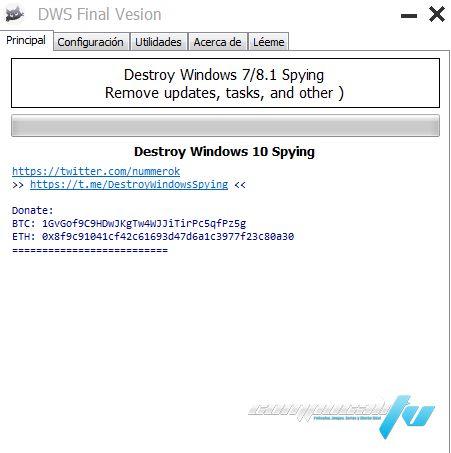 Destroy Windows 10 Spying Versión 2.2.2.2 - Protege tu privacidad