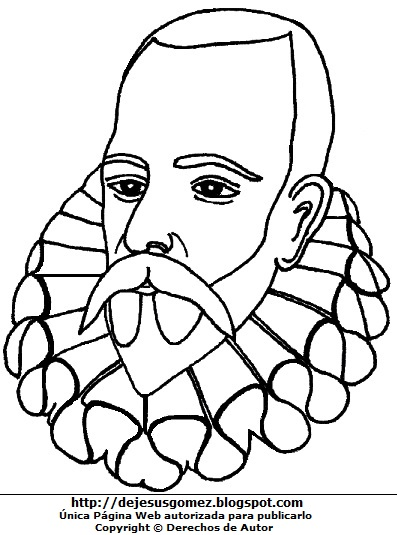Dibujo de Miguel de Cervantes Saavedra para colorear, pintar e imprimir para niños. Dibujo de Miguel de Cervantes Saavedra de Jesus Gómez
