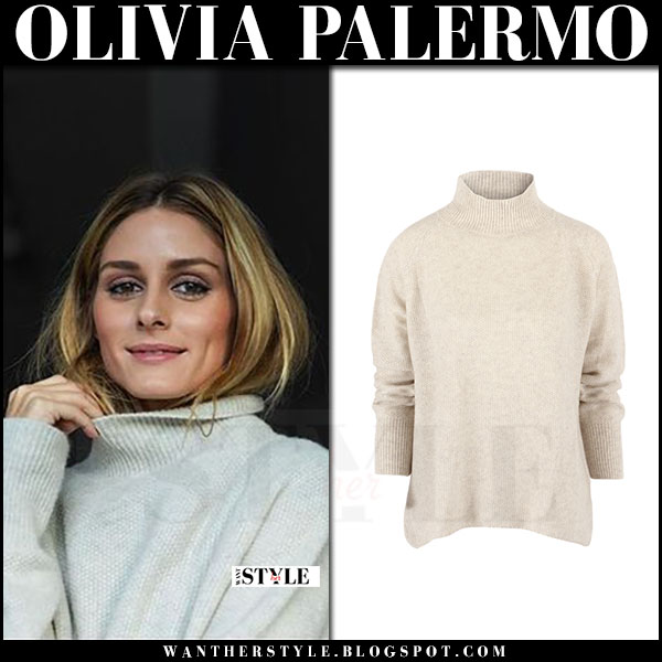 Olivia Palermo in beige turtleneck sweater santosh what she wore
