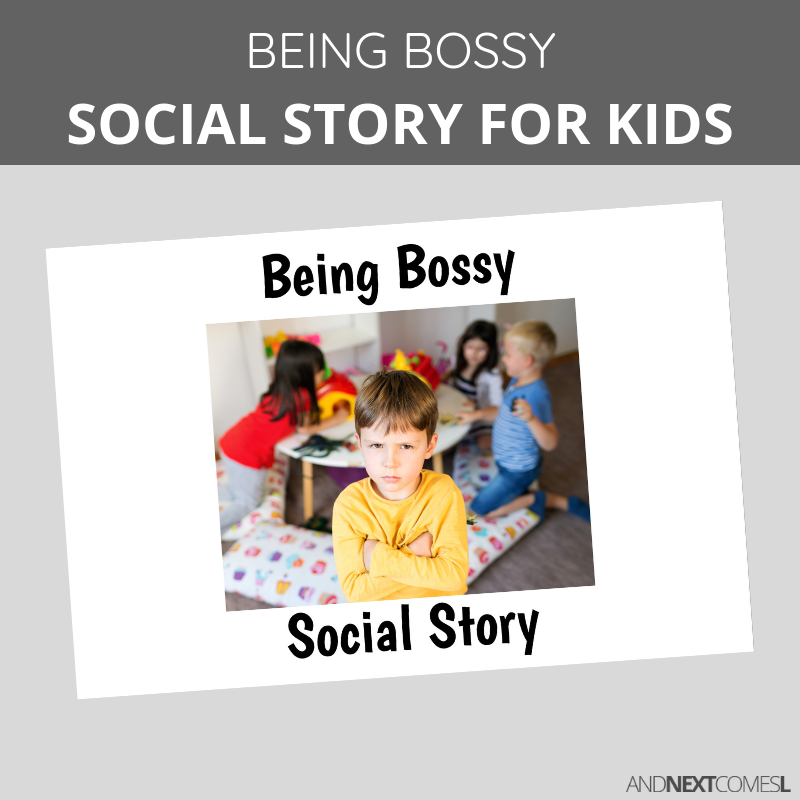 Printable social story for kids with autism about being bossy