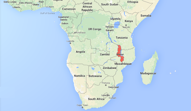 Map showing Malawi location in Africa