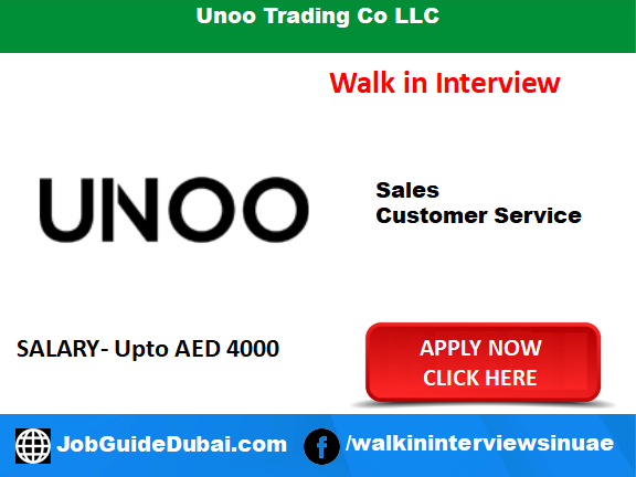 Unoo Trading Co LLC career for Customer Service and Sales Executive job in Dubai
