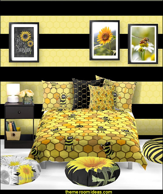 bee bedding bee bedroom bee posters bee floor pillows   bumble bee bedrooms - Bumble bee decor - Honey bee decor - decorating bumble bee home decor - Bumble Bee themed nursery - bee wallpaper mural decals - Honeycomb Stencil - hexagonal stencils - bees in springtime garden bedroom -  bee themed nursery - black yellow bedroom ideas - Hexagon pattern -
