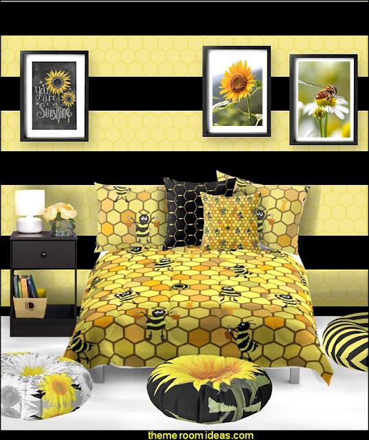bee bedding bee bedroom bee posters bee floor pillows   bumble bee bedrooms - Bumble bee decor - Honey bee decor - decorating bumble bee home decor - Bumble Bee themed nursery - bee wallpaper mural decals - Honeycomb Stencil - hexagonal stencils - bees in springtime garden bedroom -  bee themed nursery - black yellow bedroom ideas - Hexagon pattern -