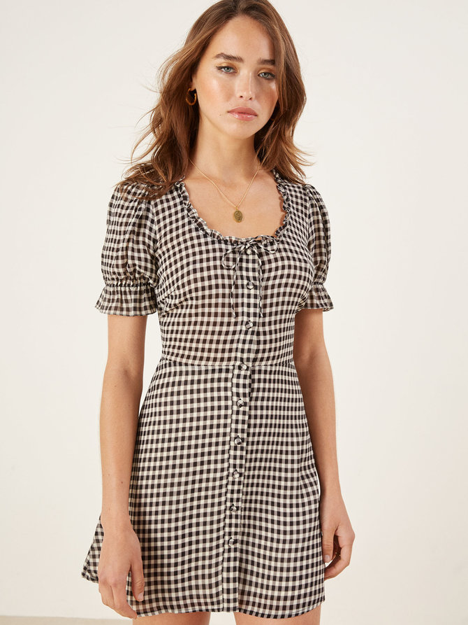 reformation, sale, paige dress, gingham, black, summer