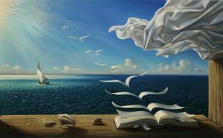 Τα-φύλλα-ενός-βιβλίου-γίνονται-γλάροι-και-πετούν-σουρεαλισμός.