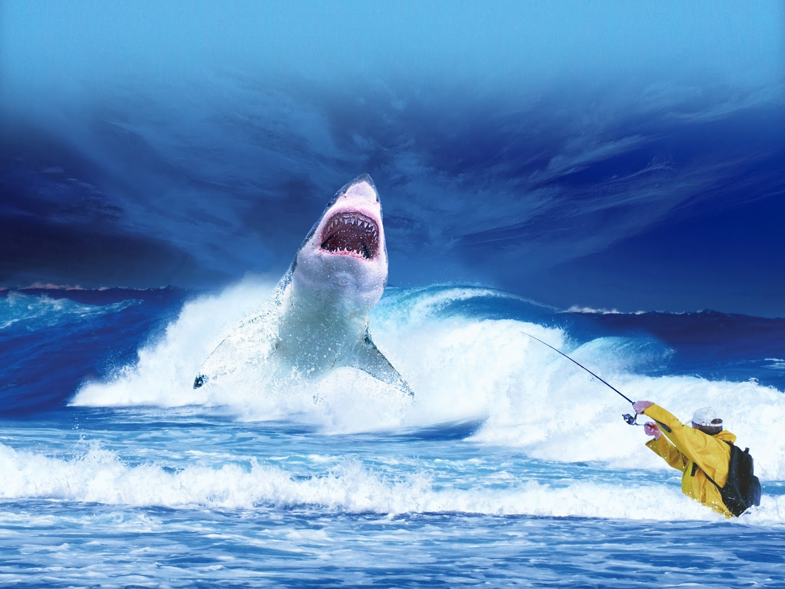 Picture of a man fishing a shark.