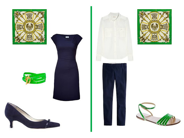 two outfits - a dress, and a blouse and pants - to wear with Hermes silk scarf Egypte in bright green