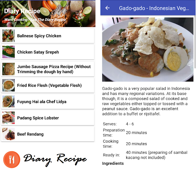 "Release of Recipe Application ""Diary Recipe"""