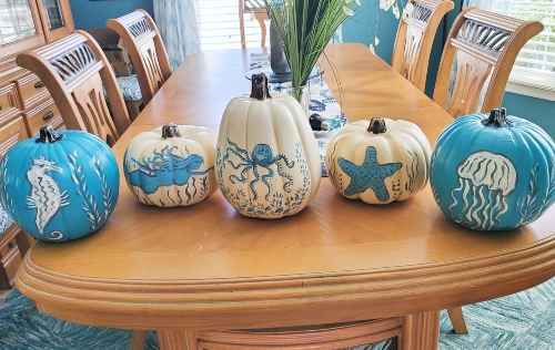 Painted Sea Life Ocean Pumpkins Art