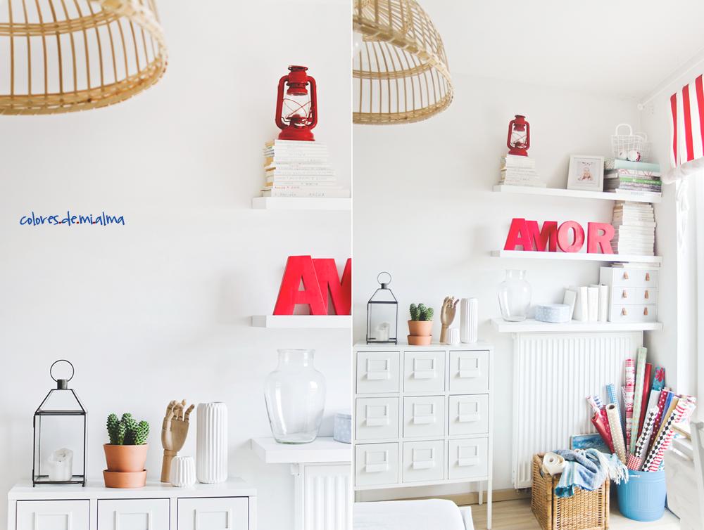 szuflady, metalowa szafka, półki, biała sypialnia