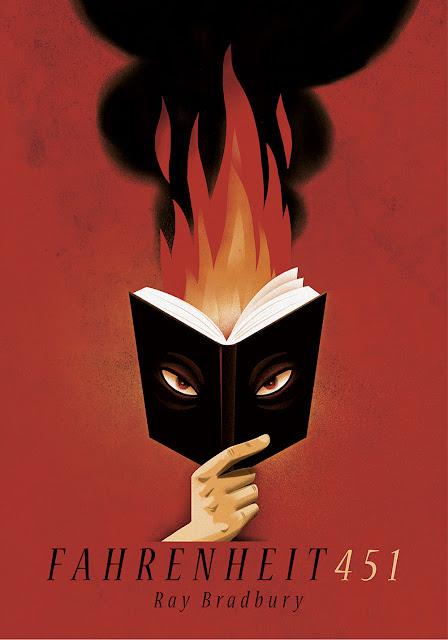 Capa do livro Fahrenheit 451, de Ray Bradbury. Descrição da imagem: ilustração de uma mão que segura um livro aberto, de dentro do livro saem chamas; e, na capa deste livro, olhos perversos observam o leitor