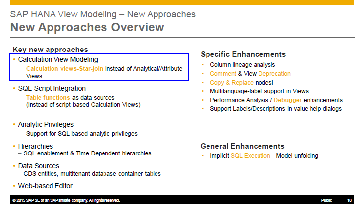 SAP HANA Data Modeling Features - from project perspective