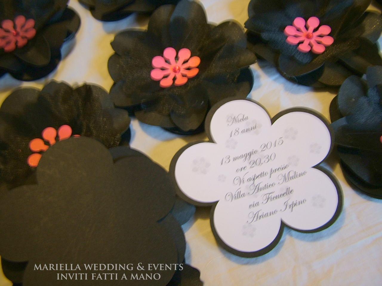 Amato Mariella Wedding & Events Inviti : Invito 18 anni .floreale sì  CR26