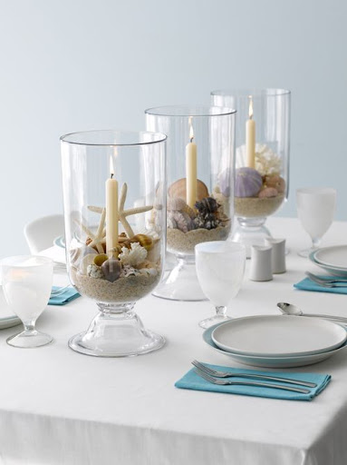 Coastal Beach Table Decor Styling Centerpiece Candle Cylinder Lanterns
