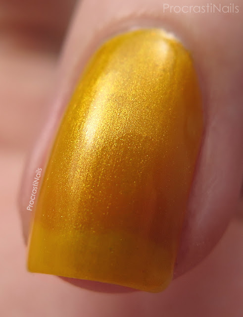 Macro of Dollarama Mariposa Yellow Shimmer Nail Polish