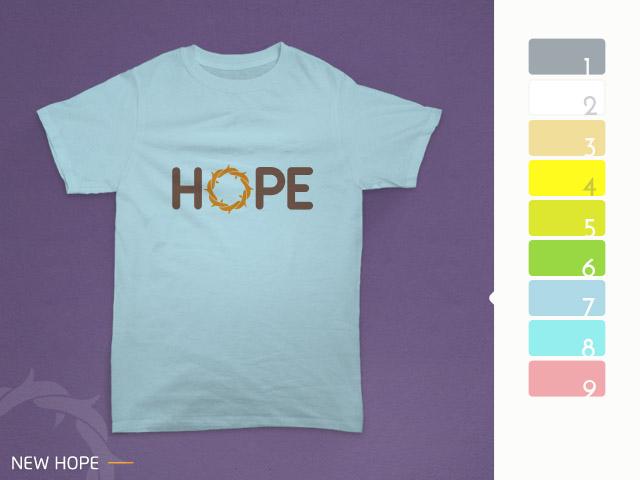 desain kaos hope diterapkan pada kain biru muda