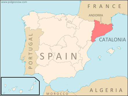Map of Catalonia's location within Spain and relative to neighboring countries