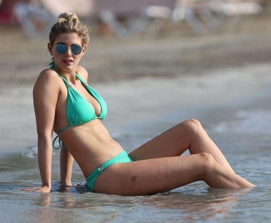 Ashley James in Bikini on the beach in Ibiza