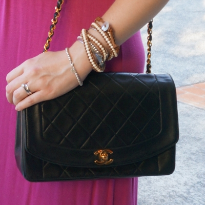 Chanel vintage quilted lambskin diana flap bag beaded bracelet stack | away from the blue
