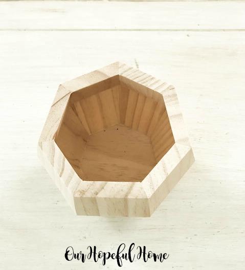 hexagonal wooden vase succulent container