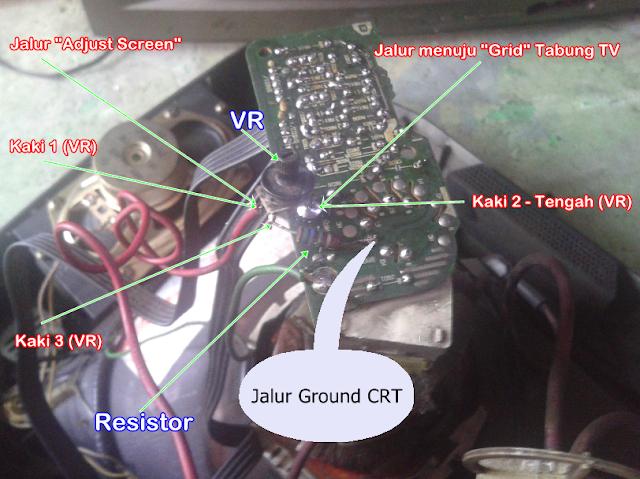 Perbaikan TV Polytron 14-Inc (PN 14323MG) - Kerusakan Gambar Blanking , Retrace, Gambar Terlalu Sangat Terang