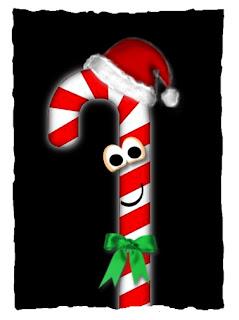 Grafik: Zuckerstange mit Augen, lächelndem Mund, Schleife und Santa-Mütze