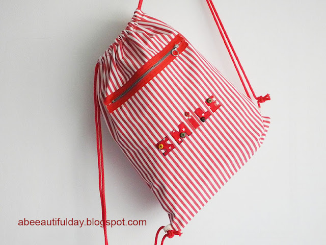 Lined Drawstring Backpack pdf pattern-Mihaela Alexandrescu