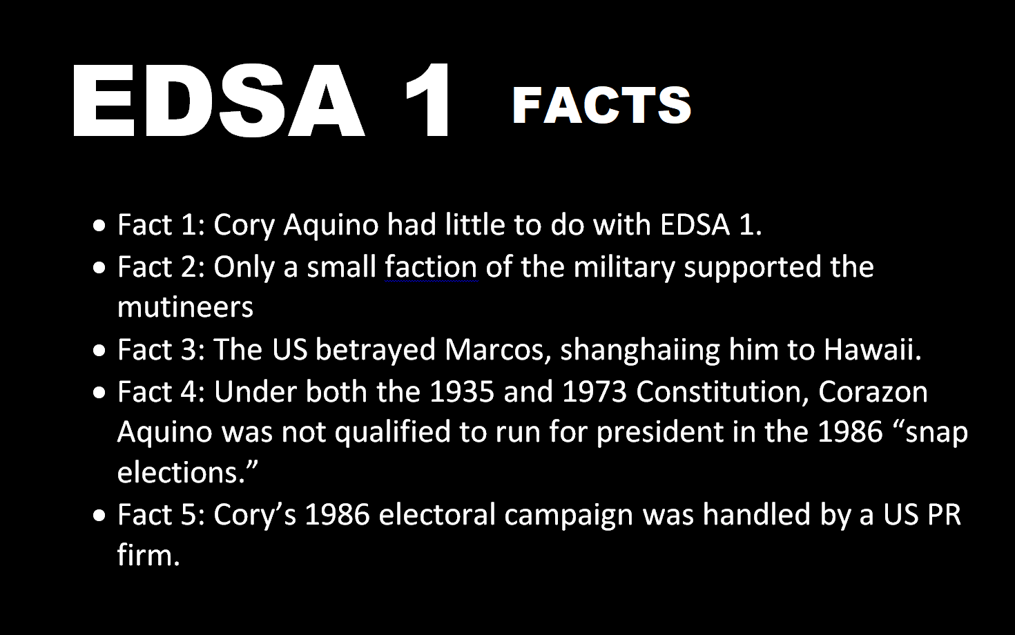 EDSA FACTS: CORY AQUINO was not Qualified to run for President under the 1935 and 1973 Constitution / USA Funded Cory