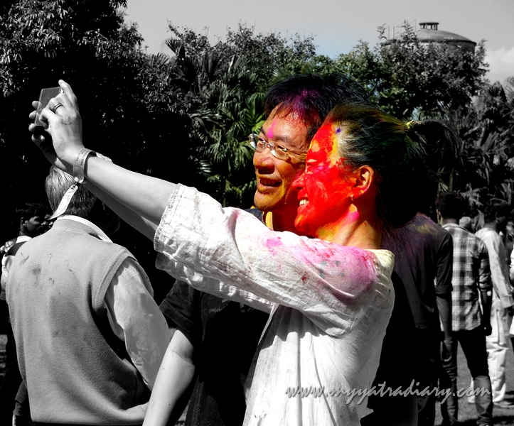 Selfie in the colors of Holi