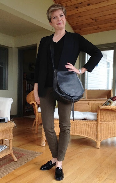 Helmut Lang jacket, Banana Republic sweater, Massimo Dutti jeans, Stuart Weitzman loafers, Holt Renfrew bag