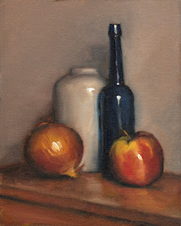 Still life oil painting of an apple, an onion, a blue castor oil bottle and a white vase.