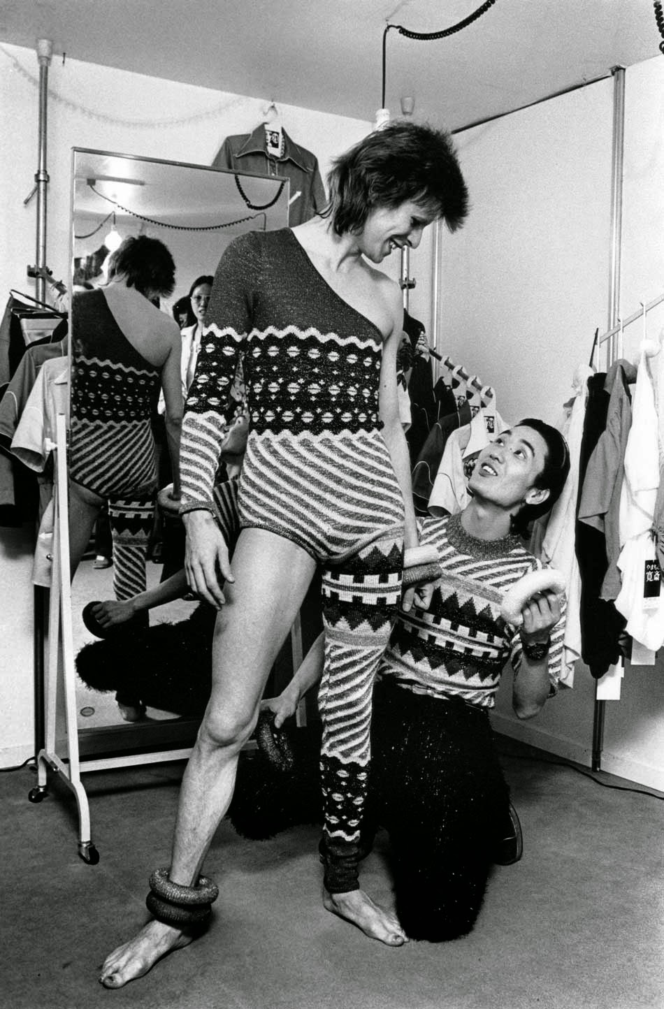 David Bowie in knitted suit