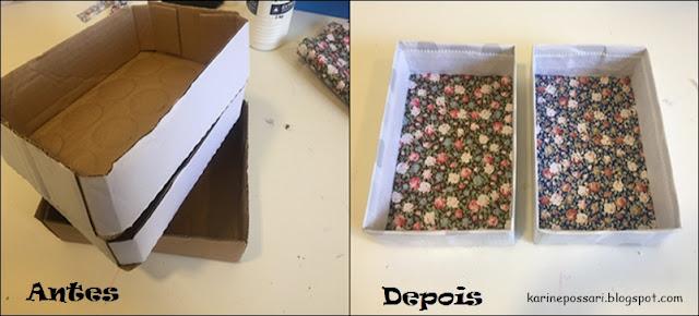 como fazer caixas organizadoras com caixa de papelão