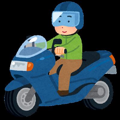 ビッグスクーターに乗る人のイラスト(男性)