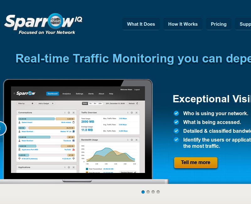 Sparrow IQ é uma ferramenta para monitoramento de banda, com detalhes sobre o volume de tráfego e identificação de protocolos e aplicações