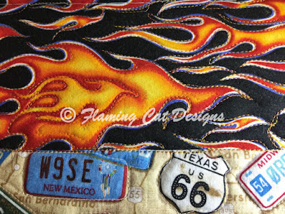 quilting around the flames and signs