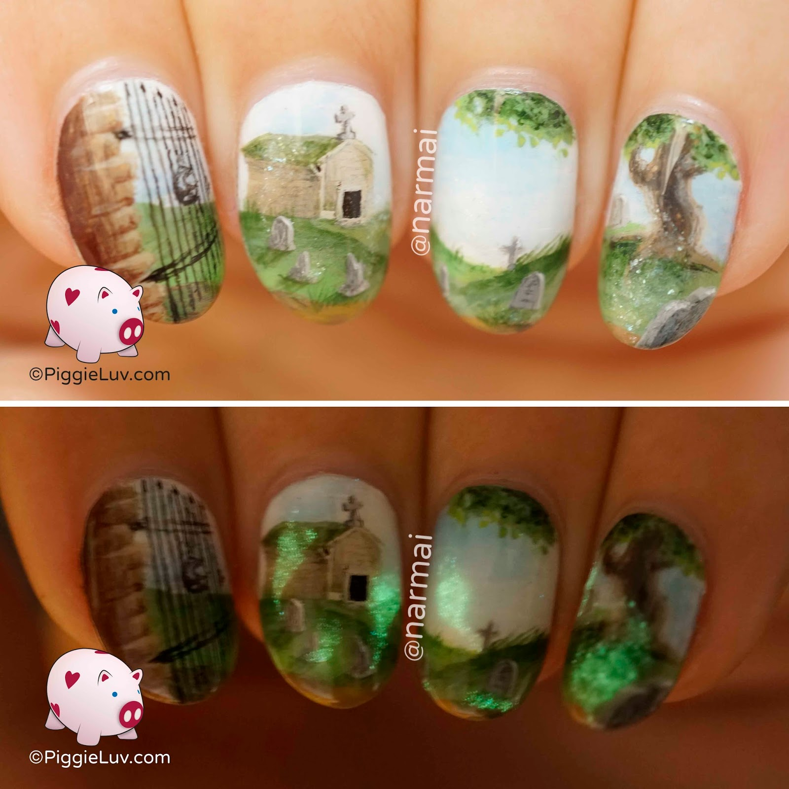 Piggieluv Ghost Party At The Graveyard Nail Art