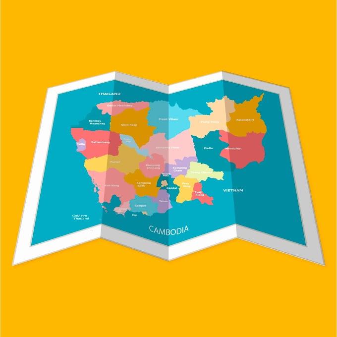 Fold of Cambodia Map Illustration free vector