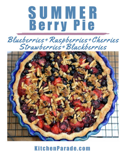 Summer Berry Pie ♥ KitchenParade.com, strawberries, raspberries, blueberries, blackberries with streusel topping.